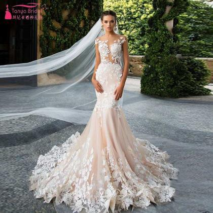 Sheer Floral Lace Appliqués Mermaid Wedding Dress With Long Train ...