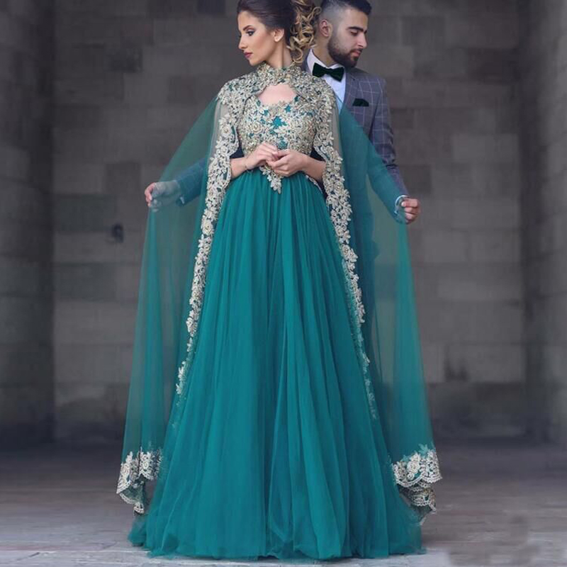 Turquoise A Line Wedding Dresses Scoop Lace Appliques With Shawl ...