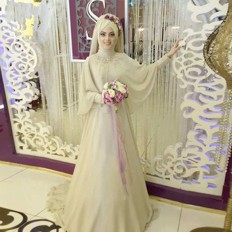 Champagne Long Sleeve Muslim Wedding Dresses, Hijab Luxury African ...