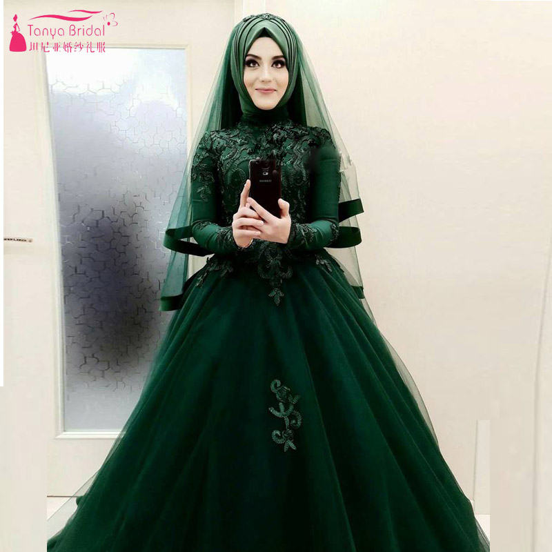 Dark Green Wedding Ball Gowns ,Muslim Hijab Elegant African Fashion ...