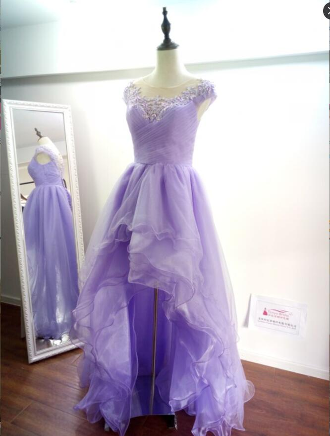 Lavender High Low Beautiful Prom Dresses O-Neck A Line Beaded ...
