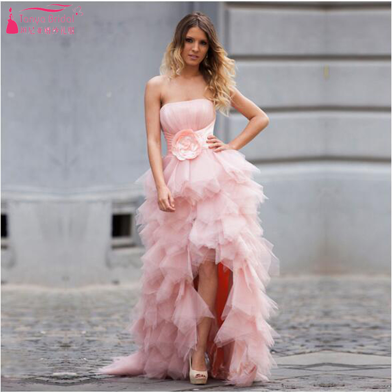 bf356c1ac957 Blush Pink high Low Prom Dresses ,Strapless Tulle Evening Dresses With  Flowers Sexy Bridesmaid Dresses