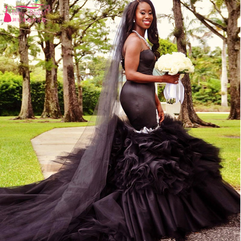 Black Girl Black Wedding Dresses ,2017 African Elegant