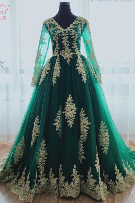 Dark Green Modern Muslim Wedding Dresses With Gold Lace Appliques A Line Long Sleeve Bridal Dresses