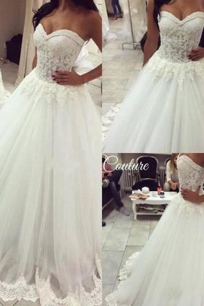 2016 Sexy Sweetheart Lace Beaded A-line Wedding Dresses Vestidos De Novia Elegant Sheer Backless Trim Beach Bridal Gowns Custom Made