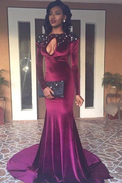 2K16 Black Girl Prom Dresses With Keyhole Bust Jewel Neck Beaded Crystal Spandex Satin Long Sleeves Hollow Back Mermaid Party Evening Gowns