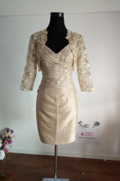 Sheath Mother Dress Taffeta Champagne Mother Of Groom Dresses,With Lace Jacket Knee Length Mother dress Real Image